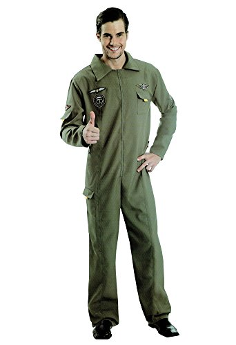Amscan Jetpilot Pilot Jet Herren Karneval Kostüm Kampfpilot Party Fasching One Size (Top Gun Kostüm Billig)