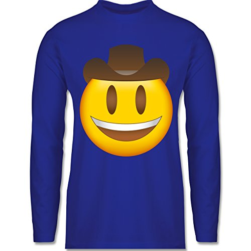 Shirtracer Comic Shirts - Emoji Cowboy-Hut - Herren Langarmshirt Royalblau