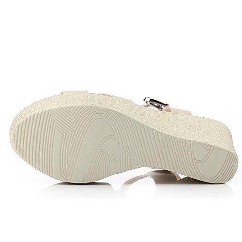 L@YC Donna Primavera Estate zeppa spessa Soled piattaforma dellalto tallone pigolio Wild Blue Bianco White