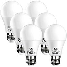 LE Bombillas LED E27 9W = 60W Incandescente, Blanco cálido 2700K, 800lm, Pack de 6