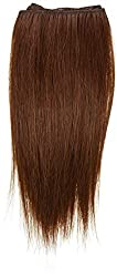 1st Lady Silky Straight Natural European 2 in 1 Weft Human Hair Extension with Premium Blend Weave, Number 33, Dark Auburn, 8-Inch