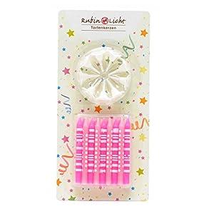 Gifts 4 All Occasions Limited SHATCHI-1078 RGRP 18 velas con soporte para decoración de tarta de cumpleaños, color rosa