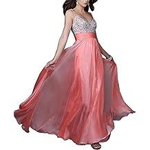 Gladiolus Vestido Mujer de Noche Largo Elegante V Cuello Sin Espalda Maxi Vestido de Partido Boda