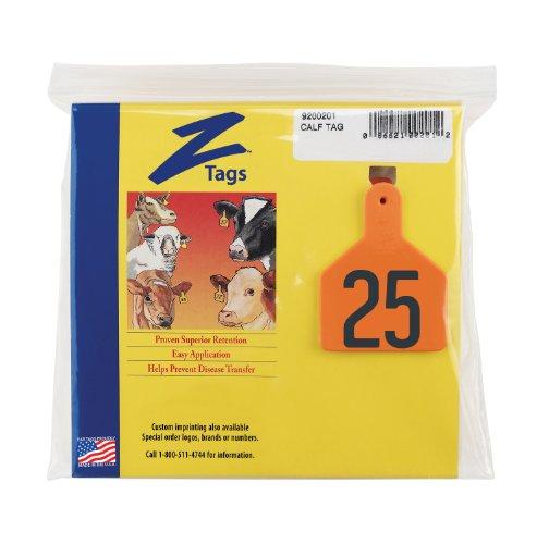 Etiquetas Z 1 pieza Pre-numerados estampilla caliente etiquetas para terneros, números de 51 A 75, Naranja