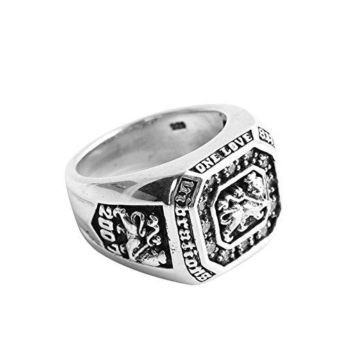 KnSam Silber Ringe Herren Herrenring Silber Löwenkopf Leo Siegelring Größe 61 (19.4) Silber