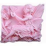 Allforhome Moule en silicone pour savons Motif fée jouant avec un papillon 6,9cm