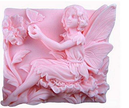 Allforhome Moule en silicone pour savons Motif fée jouant avec un papillon 6,9 cm