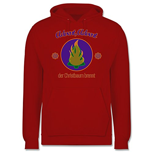 Weihnachten & Silvester - Advent, der Christbaum brennt - Männer Premium Kapuzenpullover / Hoodie Rot