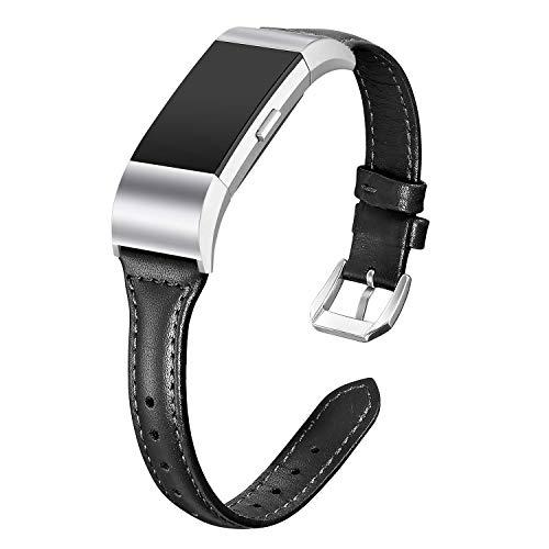 Dolank kompatibel mit Fitbit Charge 2 Armband, Schlank Retro echtes Leder Armbänder Ersatz Zubehör Sport Bands Klein Groß Damen Herren für Fitbit Charge 2 Unisex Armband (Schwarz, S)
