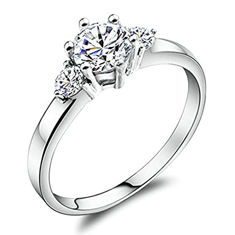 Yoursfs Shiny Cubic Zirconia Engagement Rings for Lover Three Diamond Ring 18ct White Gold Plated Women Fashion Jewellery Girlfriend Gift