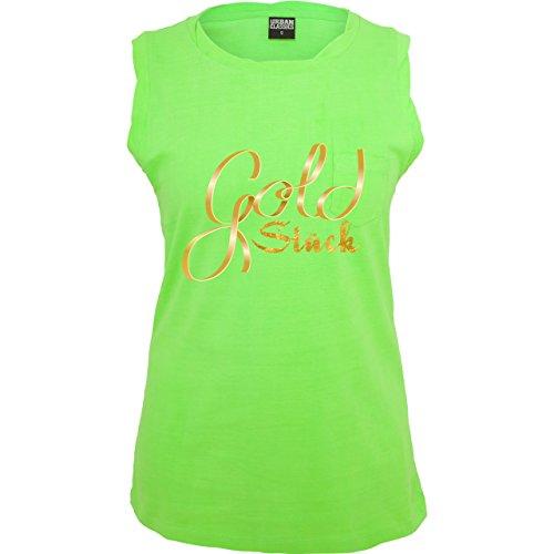 Statement Shirts - Goldstück - ärmelloses Damen T-Shirt mit Brusttasche Neon  Grün