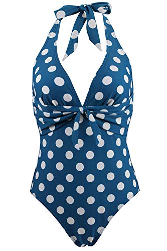 FUTURINO Damen Retro Badeanzug 50er Vintage Bikini V-Ausschnitt Polka Dots Print Halfter Fliege vorne Neckholder Bademodeset -
