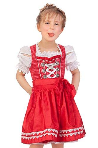 M.Stützle Trachten Kinderdirndl 3tlg. – LORIETTA – rot
