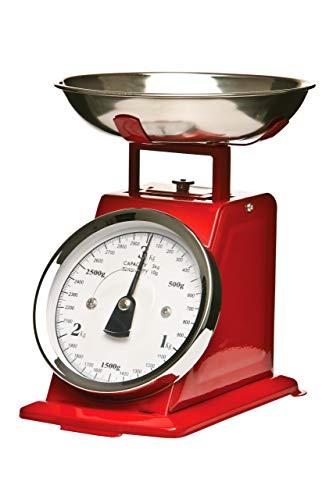 Premier Housewares Bilancia stile retro con ciotola in acciaio INOX, 3 Kg, colore: Rosso