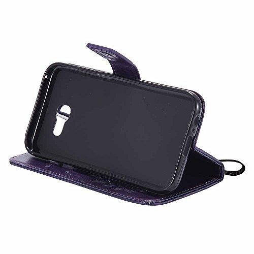 Coque Galaxy A5 2017, Dfly [Stand de Portefeuille] [Datura Fleurs de Motif ] [Fermeture Magnétique] Housse Coque Protecteur Clapet Portefeuille Cuir PU avec Fentes et Support de Rabat Cas pour Samsung Violet