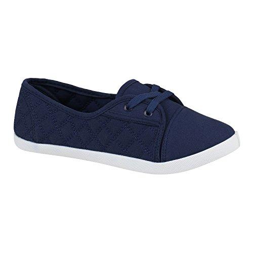 Sportliche Damen Schuhe Ballerinas Slipper Gesteppt Freizeitschuhe 152656 Marineblau Gesteppt 39 Flandell
