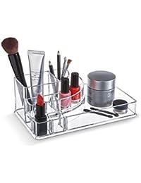 Domopak ® Acrylic Makeup Organiser Cosmetic Jewellery Display Box Set - 4 Compartments & 4 lipstick compartments
