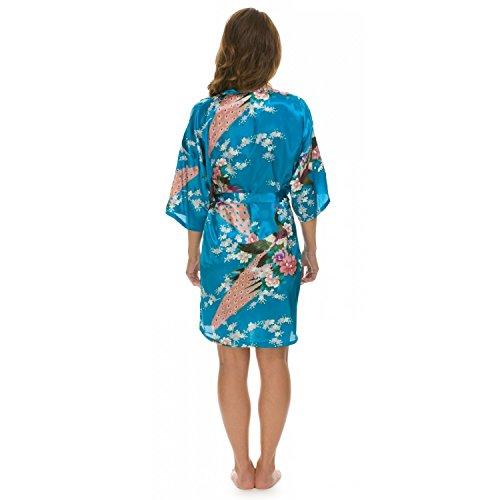 Nighty & Kimono Bademantel Chinese Janpanes, Damen Bademantel/Morgenmantel, Seide, Peacock Blau - Blau (Lake Blue)