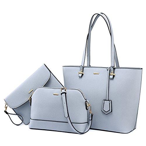 Handtaschen Damen Schultertasche Handtasche Tragetasche Damen Groß Designer Elegant Ümhängetasche Henkeltasche Set 3-Teiliges Set Hellblau