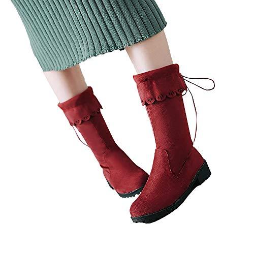 MYMYG Stiefel Wildleder Stiefel Booties Stiefeletten Kurze Fersenschuhe Kurzschaft Schnürstiefel Chelsea Boots mit Blockabsatz Winter Stiefel Rutschfeste Ankle Stiefeletten