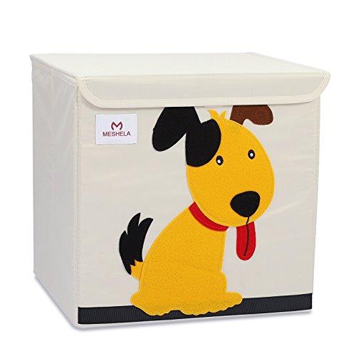 Meshela Aufbewahrungsbox und Organisator für Kinderspielzeug,Cartoon Aufbewahrungswürfel Leinwand faltbare Spielzeug Aufbewahrungsbox(Hund) -