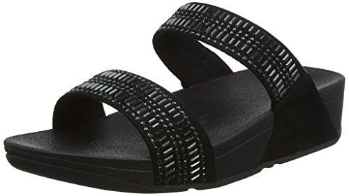 huge discount 319f3 7f1be FitFlop INCASTONE Slide Sandals, Bout Ouvert Femme, Noir (Black 1), 39
