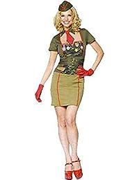 Mix lot neuen Frauen sexy Armee Babe Kostüm 4 Stück Outfit Kleid mit Hut, Krawatte und Handschuhe Damen Kostüm klassifiziert Haut fit Partei zu tragen Größen S / M / L / XL