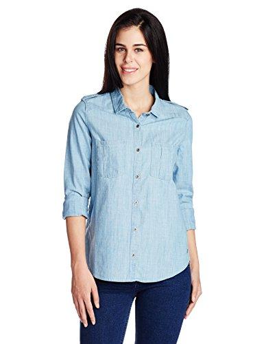 Roxy-Camera Obscura, maniche lunghe, Donna, Camera Obscura Long Sleeve Shirt, Aquamarine - Wash_1, M