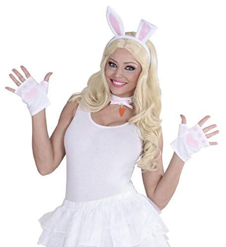 MKS Dress Up Set Accessoire 3 teilig - Ohren, Halsband & Handschuhe - für Motto-Partys, Hasenkostüm und Cosplay (Bunny)
