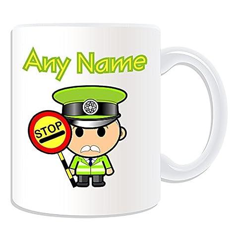 Cadeau personnalisé–Lollipop Man Mug Design (Carrière Thème, blanc)–N'importe Quel Nom/Message sur votre unique–School Crossing patrouille Old Traffic Stop occupation