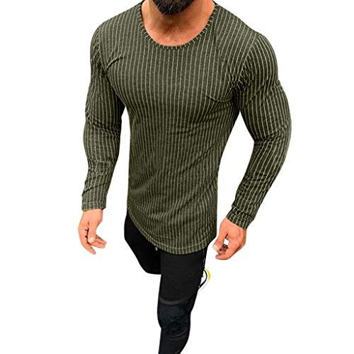 DNOQN Sportshirt Herren T Shirt Topshop Poloshirt Mode für Männer Beiläufig Frühlings Streifen Lange Ärmel O-Ausschnitt Tops Bluse T-Shirts L
