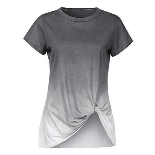 Linkay T Shirt Damen Kurzarm Bluse Tops Farbverlauf Verknotet Oberteile Mode 2019 (Grau, Medium) Favorite Short-sleeve Bodysuit