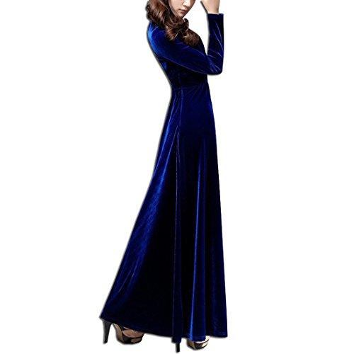 KAXIDY Damen Langes Kleid V-Ausschnitt Lange Langarm Samt Abendkleider Partykleider Cocktailkleider Saphir