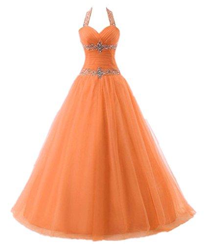 Zorayi Damen Lange Halfter Kristall Tüll A-Linie Abendkleid Prom Ballkleid Partykleider Orange Größe 36 (Orange Prom Ballkleid)