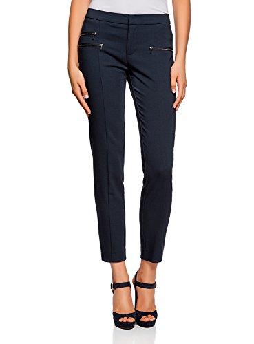 oodji Ultra Donna Pantaloni Stretti con Zip Decorative Blu (7900N)