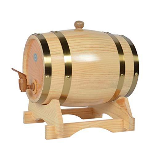 HuaHua Furniture Weinfass, 20L Eichenfass, Vintage Holz Eiche Weinspender Holz mit Holzständer zum Speichern von Whisky, Wein, Essig, Bier Lagerung (Color : A) -