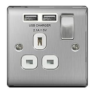 BG Nexus NBS Range Brushed Steel Switches & Sockets - Full Range of Matching Items (1 Gang 13 Amp USB Switch Socket (White))