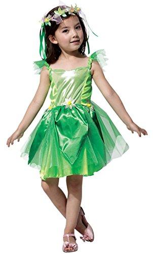 Lukis Grüne Fee Kostüm Mädchen Karneval Fasching Kleider Elfen Cosplay Grün Körpergröße 120-130cm
