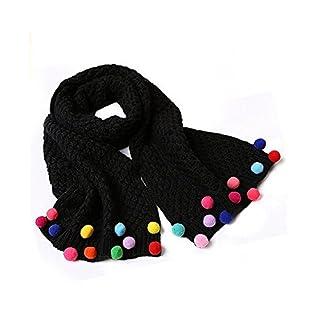 Ayouyou Herbst Winter Mode Mädchen Gestrickte Warme Bonbonfarbenen Schal mit Fransen Schal (Schwarz) EINWEG Verpackung