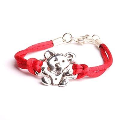Bracelet enfant ourson cordon rouge bijou filles ou garçons 100% made in France fait main.