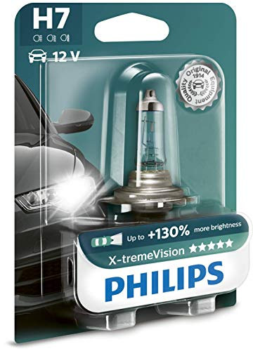 Philips X-tremeVision +130{58f78d7d8a091148fbaf7a3e1be25486f67516d708f898fdea4c2cc88398e3ae} H7 Scheinwerferlampe 12972XV+B1, Einzelblister