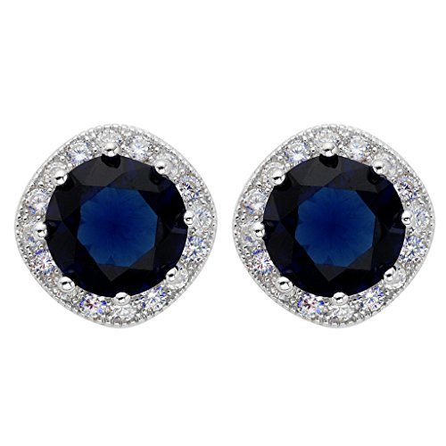 EVER FAITH 925 Sterling Silber Cubic Zirkonia Elegant Cushion Cut Halo Stud Ohrringe blau saphir...
