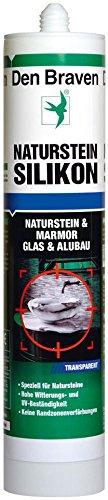 Den Braven Naturstein Silikon 300 ml hohe Haftkraft, witterungs und UV-beständig, BauSilikon Made in Europe, transparent, CSS33A302001
