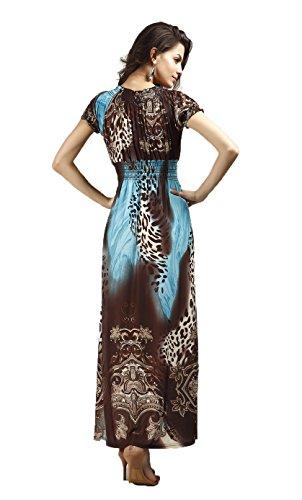 leopardo Aimerfeel femminile bohemien spiaggia e paisley maxi vestito con scollo a V stampa in nero con rosa o blu con elastico girovita XL o 2XL Blu