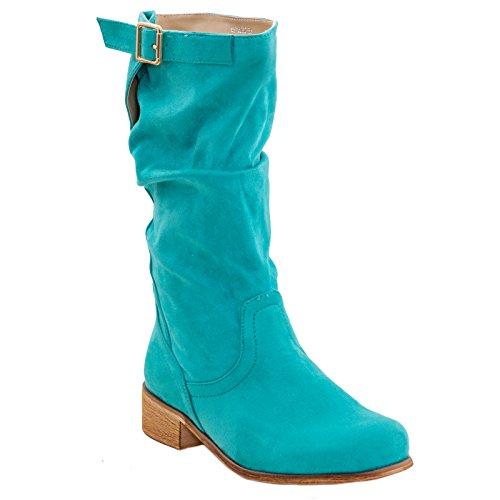 Toocool - Scarpe donna stivaletti scamosciati biker boots Queen Helena nuovo QH16032 Verde