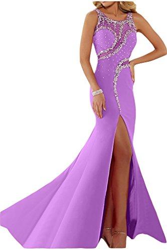 ivyd ressing Femme luxurioes fente col rond pierres Party robe Lave-vaisselle robe robe du soir Violet clair