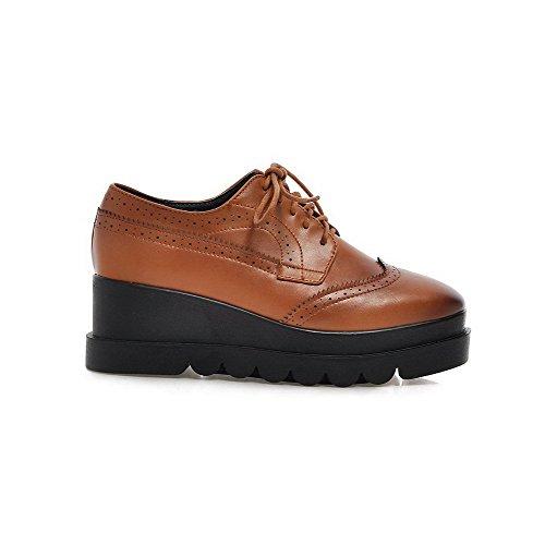 AgooLar Damen Weiches Material Schnüren Quadratisch Zehe Mittler Absatz Rein Pumps Schuhe Braun