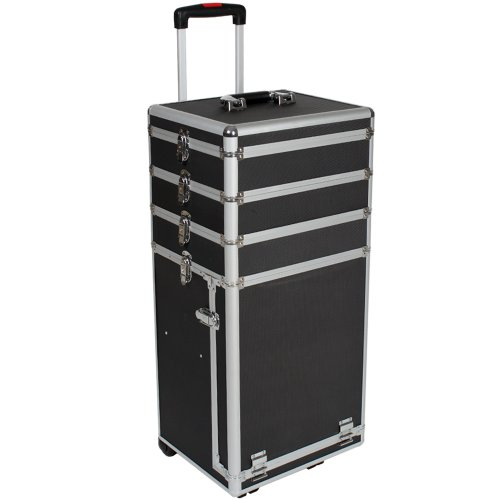 TecTake® Kosmetikkoffer Pilotenkoffer Beauty Koffer Schminkkoffer Trolley Friseurkoffer schwarz
