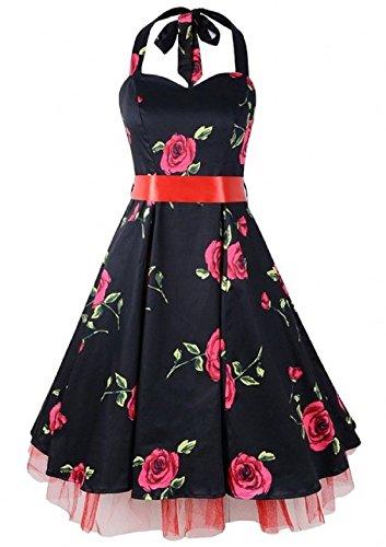iLover Damen Damen Polka Punkt Kleid Neckholder 50er Blumen Schaukel Pinup Rockabilly Vintage Kleid BlackFloral