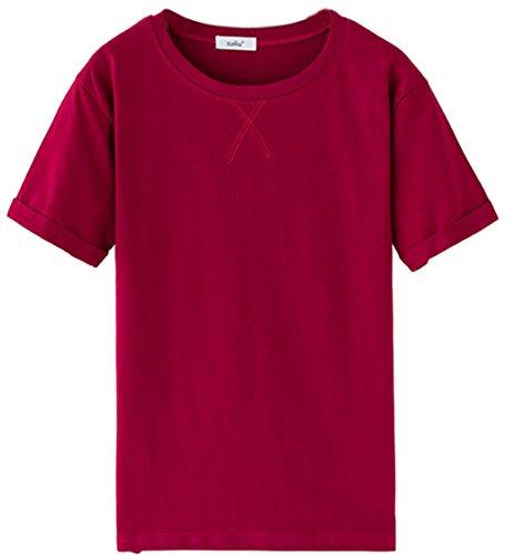 Tailloday Damen Fashion Einfarbig Baumwolle Rundhals Kurzarm-T-Shirt Rote